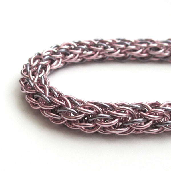 Pastel pink & gray chainmaille bracelet, candy cane cord weave - Tattooed and Chained Chainmaille  - 4