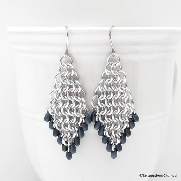 Beaded diamond shaped chainmaille earrings, Euro 4 in 1 weave - Tattooed and Chained Chainmaille  - 4