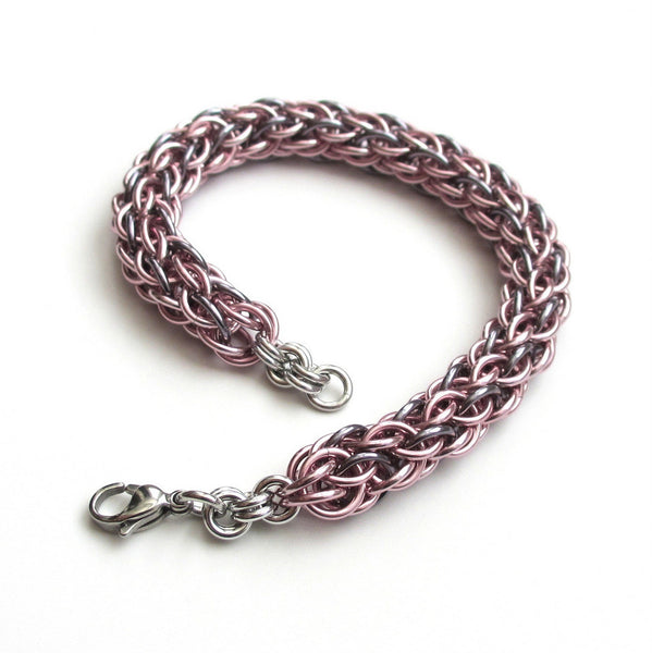Pastel pink & gray chainmaille bracelet, candy cane cord weave - Tattooed and Chained Chainmaille  - 1