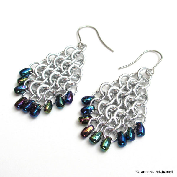 Beaded chainmaille earrings, teardrop shaped Euro 4 in 1 - Tattooed and Chained Chainmaille  - 2