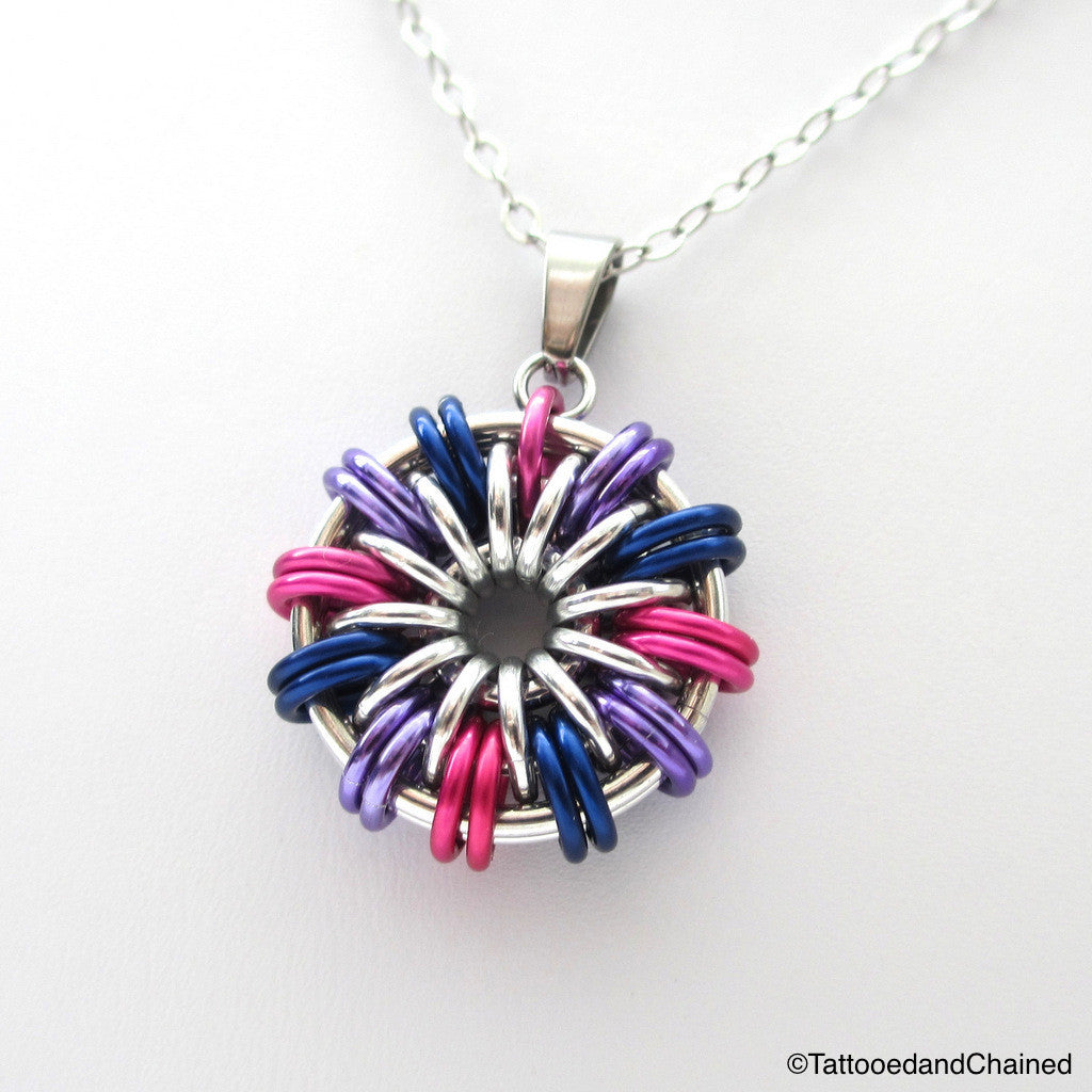 Bi pride chainmaille pendant; pink, purple, blue - Tattooed and Chained Chainmaille  - 1