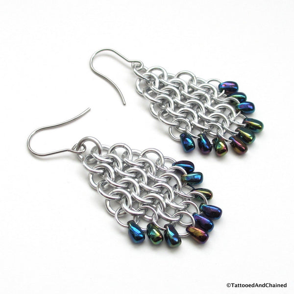 Beaded chainmaille earrings, teardrop shaped Euro 4 in 1 - Tattooed and Chained Chainmaille  - 4
