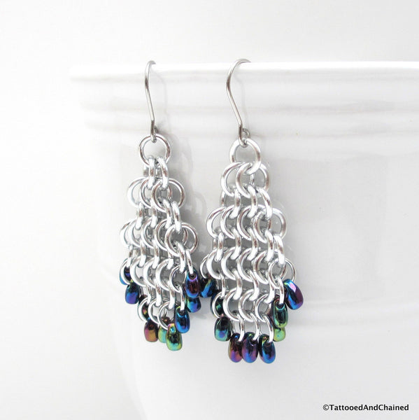 Beaded chainmaille earrings, teardrop shaped Euro 4 in 1 - Tattooed and Chained Chainmaille  - 3