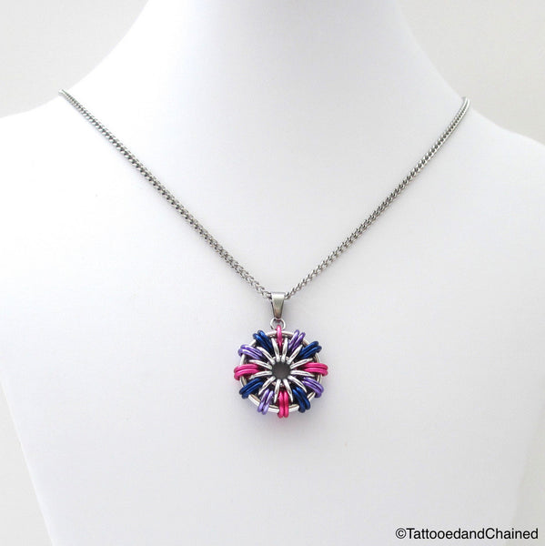 Bi pride chainmaille pendant; pink, purple, blue - Tattooed and Chained Chainmaille  - 4