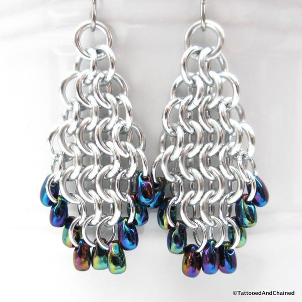 Beaded chainmaille earrings, teardrop shaped Euro 4 in 1 - Tattooed and Chained Chainmaille  - 5