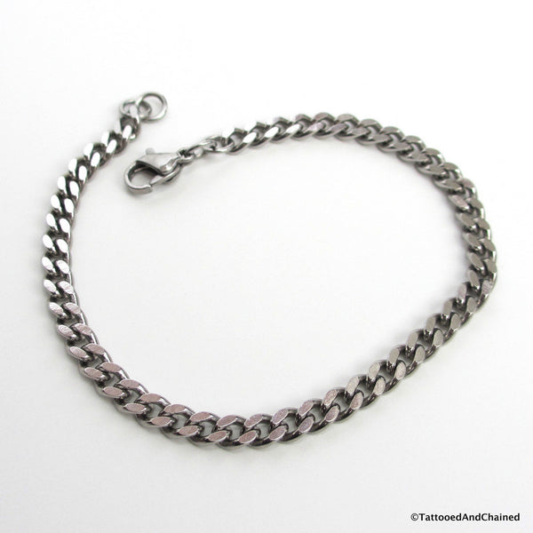 4mm stainless steel curb chain bracelet - Tattooed and Chained Chainmaille  - 5