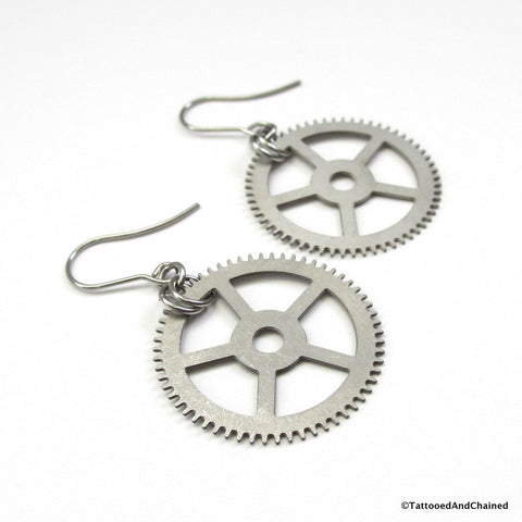 Steampunk gear earrings - Tattooed and Chained Chainmaille  - 1