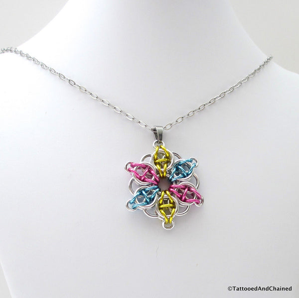 Pansexual pride pendant, chainmaille Celtic star; pink, yellow, light blue - Tattooed and Chained Chainmaille  - 5