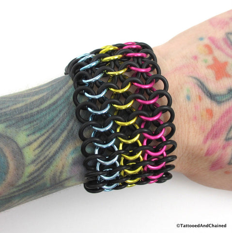 Pansexual pride stretchy cuff bracelet, chainmaille European 4 in 1 weave - Tattooed and Chained Chainmaille  - 1
