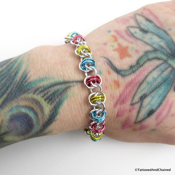 Pansexual pride bracelet, chainmaille barrel weave - Tattooed and Chained Chainmaille  - 5