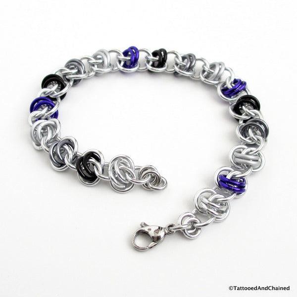 Asexual pride bracelet, chainmaille barrel weave - Tattooed and Chained Chainmaille  - 1