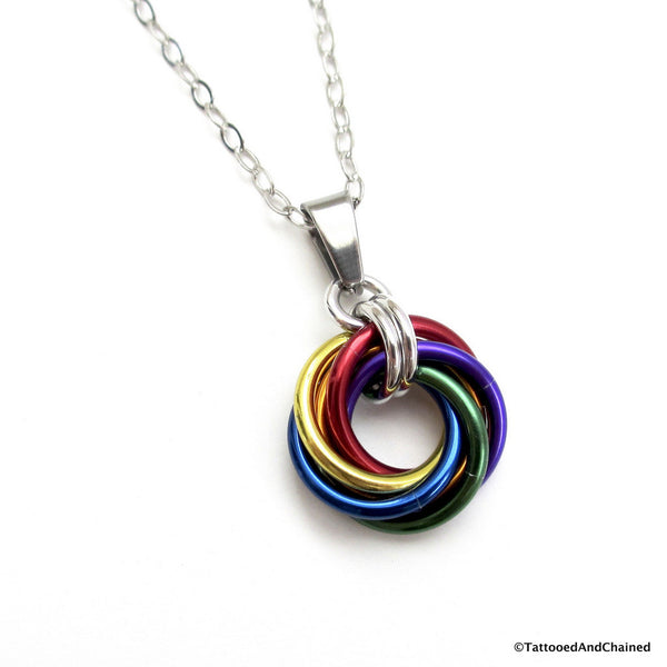 Gay pride chainmaille love knot pendant; rainbow LGBT jewelry - Tattooed and Chained Chainmaille  - 1