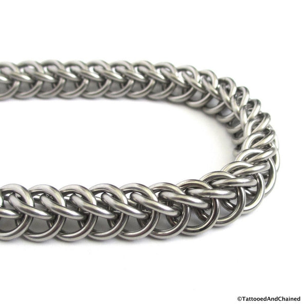 Thick stainless steel chainmaille bracelet, 16 gauge half Persian 3 in 1 weave - Tattooed and Chained Chainmaille  - 5