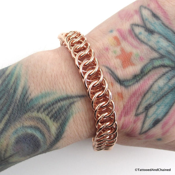 Copper chainmaille bracelet, 16 gauge half Persian 4 in 1 weave - Tattooed and Chained Chainmaille  - 5