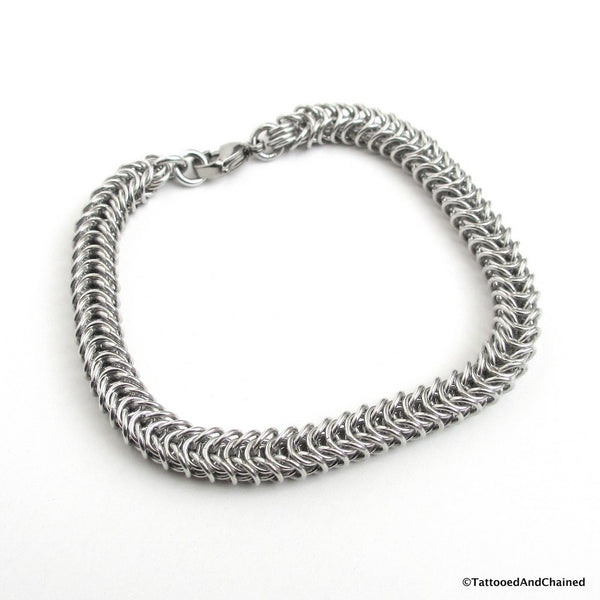 Silver aluminum box chain chainmaille bracelet, 20 gauge - Tattooed and Chained Chainmaille  - 5