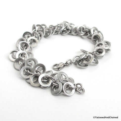 Upcycled chainmaille bracelet, brushed aluminum shaggy loops weave - Tattooed and Chained Chainmaille  - 1