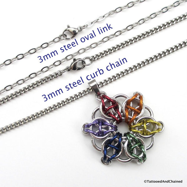 Gay pride chainmaille star pendant; rainbow - Tattooed and Chained Chainmaille  - 2