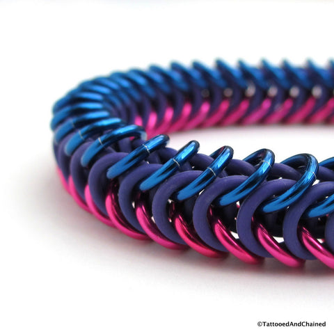 Bisexual pride stretchy bracelet, chainmaille box chain - Tattooed and Chained Chainmaille  - 1