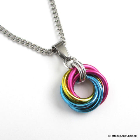 Pansexual pride chainmaille love knot pendant; pink, yellow, light blue - Tattooed and Chained Chainmaille  - 1