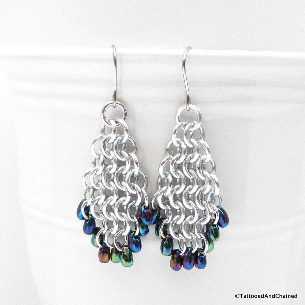 Beaded chainmaille earrings, teardrop shaped Euro 4 in 1 - Tattooed and Chained Chainmaille  - 1