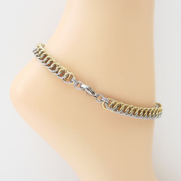 Stainless steel & jewelry brass anklet, chainmaille half Persian 4 in1 weave