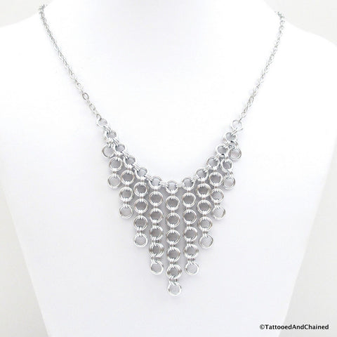 Japanese style chainmaille bib necklace - Tattooed and Chained Chainmaille  - 1