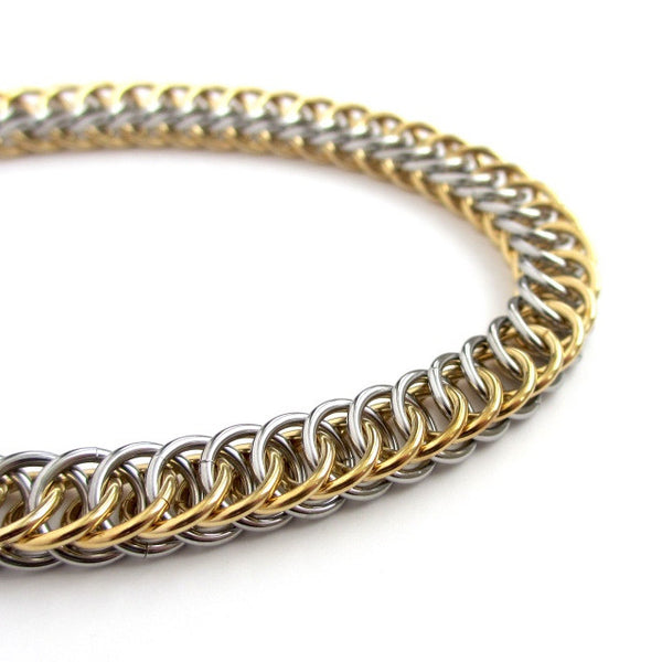 Stainless steel & jewelry brass anklet, chainmaille half Persian 4 in1 weave - Tattooed and Chained Chainmaille  - 5
