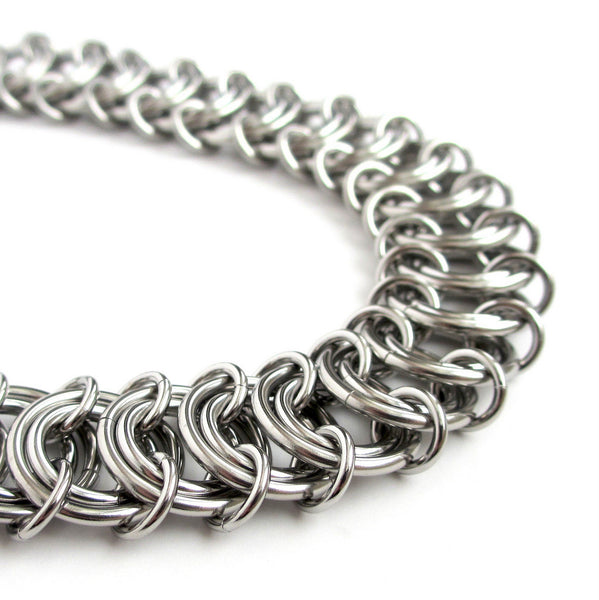 Stainless steel anklet, chainmaille vertebrae weave - Tattooed and Chained Chainmaille  - 5