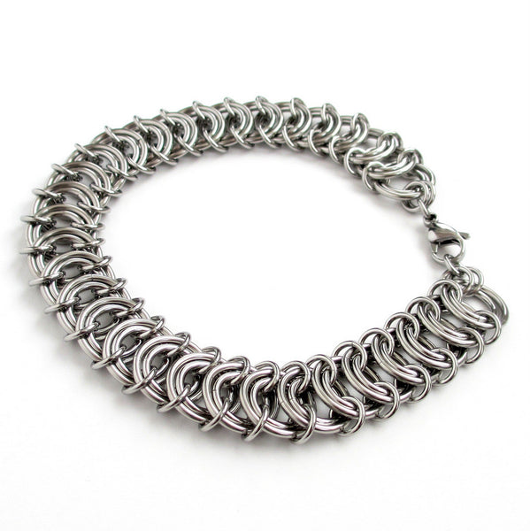 Stainless steel anklet, chainmaille vertebrae weave - Tattooed and Chained Chainmaille  - 4