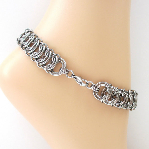 Stainless steel anklet, chainmaille vertebrae weave - Tattooed and Chained Chainmaille  - 3