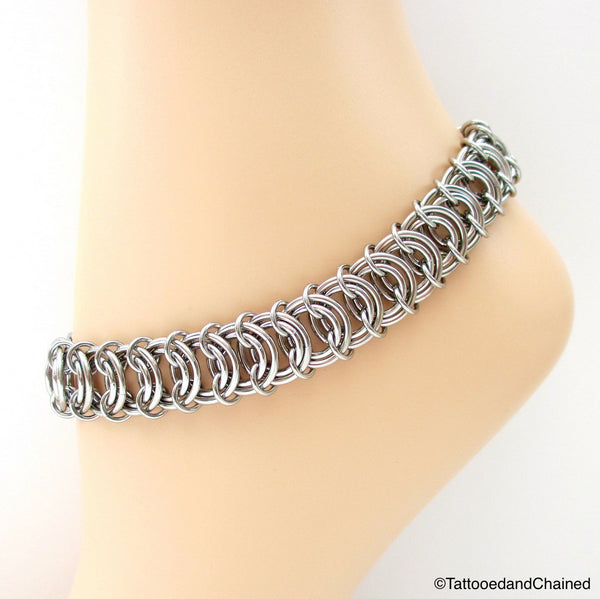 Stainless steel anklet, chainmaille vertebrae weave - Tattooed and Chained Chainmaille  - 1