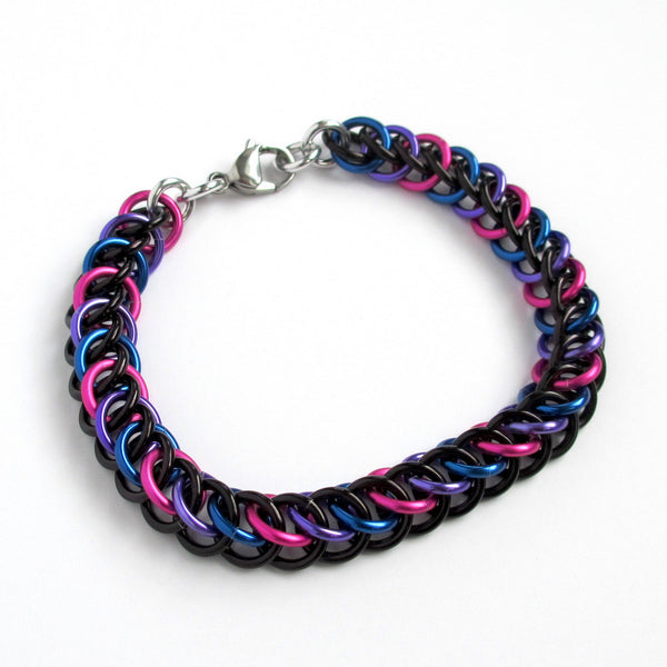 Chainmaille half Persian 3 in 1 bi pride bracelet - Tattooed and Chained Chainmaille  - 4