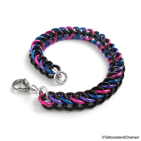 Chainmaille half Persian 3 in 1 bi pride bracelet - Tattooed and Chained Chainmaille  - 1