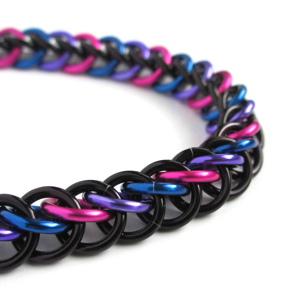 Chainmaille half Persian 3 in 1 bi pride bracelet - Tattooed and Chained Chainmaille  - 2