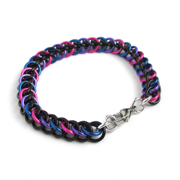 Chainmaille half Persian 3 in 1 bi pride bracelet - Tattooed and Chained Chainmaille  - 5