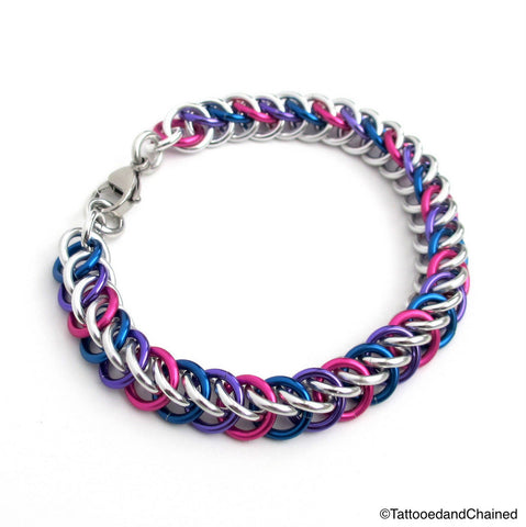 Bi pride bracelet, chainmaille half Persian 3 in 1 weave - Tattooed and Chained Chainmaille  - 1
