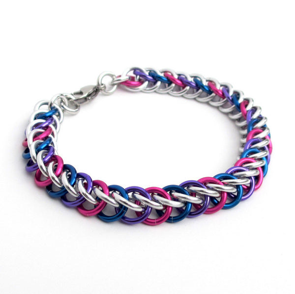 Bi pride bracelet, chainmaille half Persian 3 in 1 weave - Tattooed and Chained Chainmaille  - 2