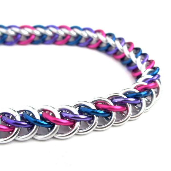Bi pride bracelet, chainmaille half Persian 3 in 1 weave - Tattooed and Chained Chainmaille  - 4