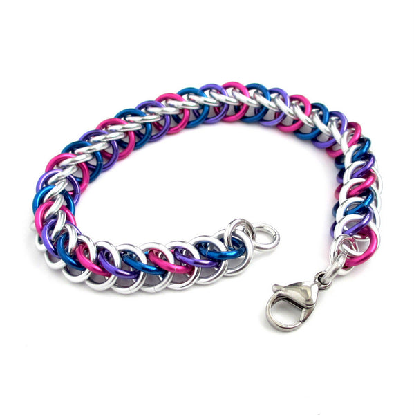 Bi pride bracelet, chainmaille half Persian 3 in 1 weave - Tattooed and Chained Chainmaille  - 5