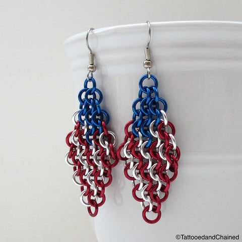 American flag chainmaille earrings - Tattooed and Chained Chainmaille  - 1