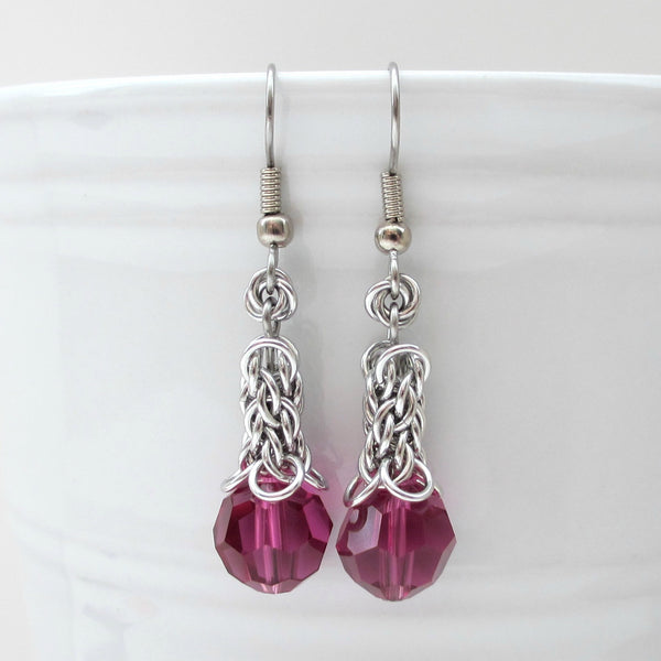 Fuchsia crystal Candy Cane Cord chainmaille earrings - Tattooed and Chained Chainmaille  - 1