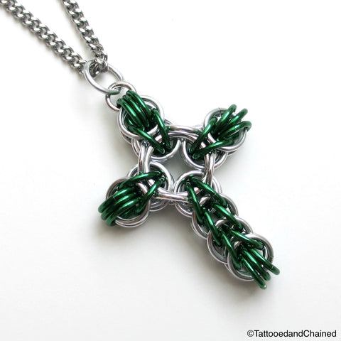 Green chainmaille cross pendant, full Persian weave - Tattooed and Chained Chainmaille  - 1