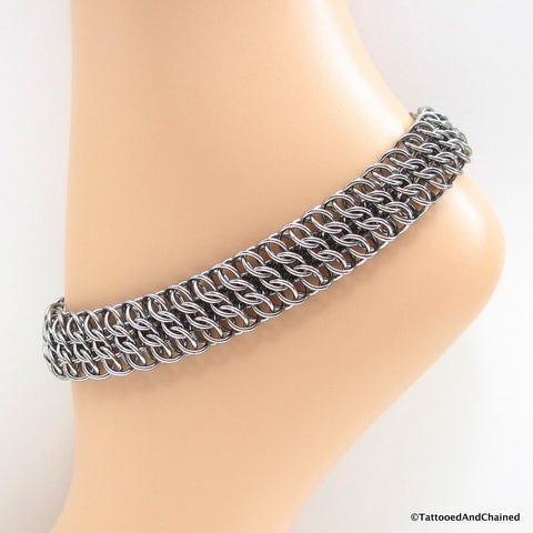 Wide stainless steel anklet, chainmaille half Persian 3 sheet 6 in 1 - Tattooed and Chained Chainmaille  - 1