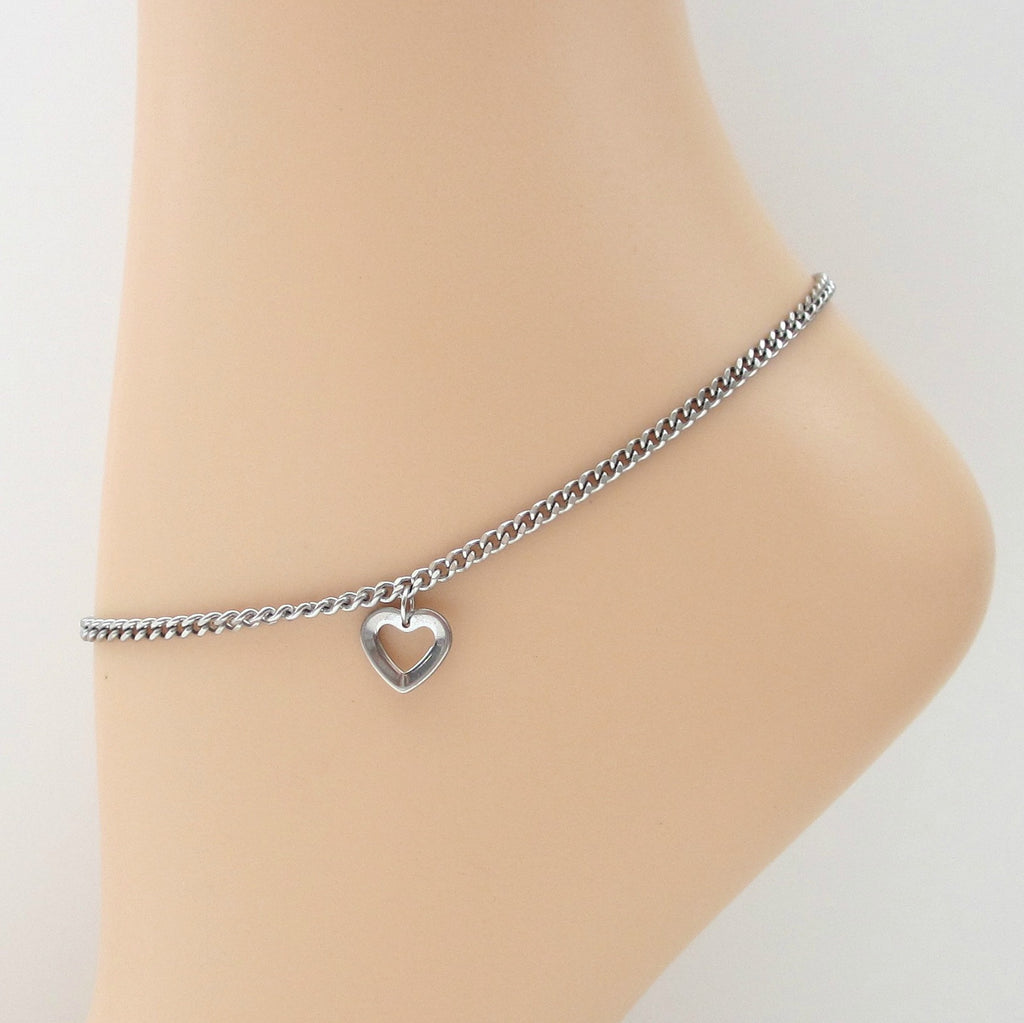 Stainless steel chain anklet with heart charm - Tattooed and Chained Chainmaille  - 1