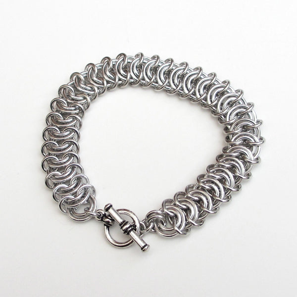 Silver aluminum vertebrae weave chainmaille bracelet, 18 gauge - Tattooed and Chained Chainmaille  - 4