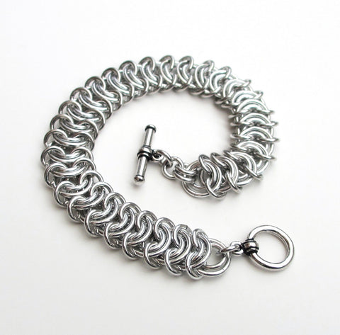 Silver aluminum vertebrae weave chainmaille bracelet, 18 gauge - Tattooed and Chained Chainmaille  - 1