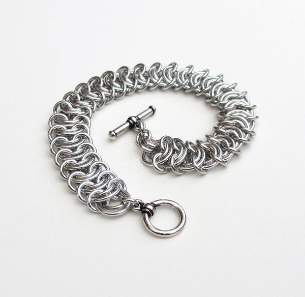 Silver aluminum vertebrae weave chainmaille bracelet, 18 gauge - Tattooed and Chained Chainmaille  - 2