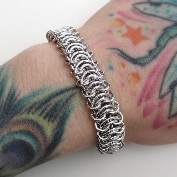Silver aluminum vertebrae weave chainmaille bracelet, 18 gauge - Tattooed and Chained Chainmaille  - 3