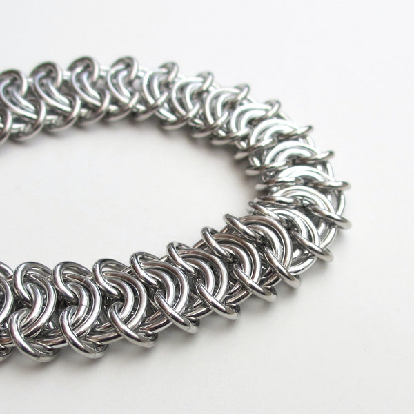 Silver aluminum vertebrae weave chainmaille bracelet, 18 gauge - Tattooed and Chained Chainmaille  - 5