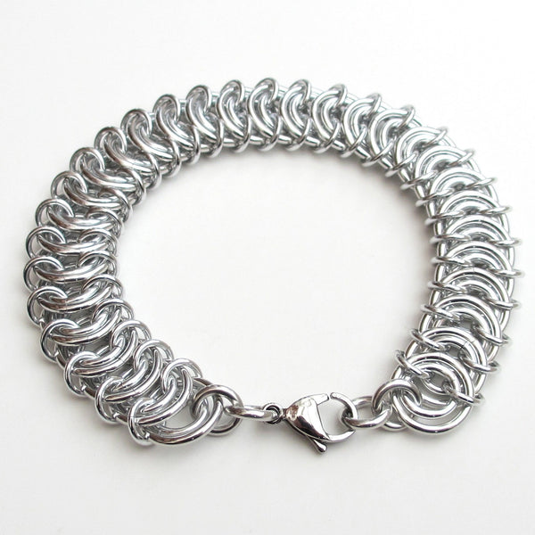 Aluminum vertebrae weave chainmaille bracelet - Tattooed and Chained Chainmaille  - 2